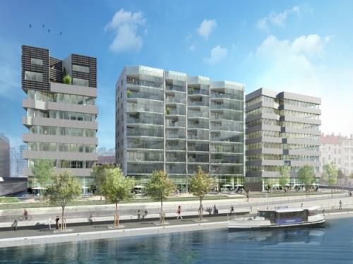 Immeuble Minami Ouvert sur l'eau de la place nautique, Minami (sud en japonais) est la vitrine résidentielle de l'îlot où ses habitants seront accompagnés pour gérer au mieux leur consommation énergétique. Source: Kuma